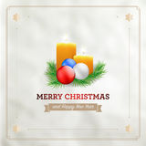 Christmas card with candles, spruce and christmas balls Royalty Free Stock Photos