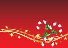 Christmas card with candy and golden stars. Red Christmas card with candy and golden stars Royalty Free Illustration