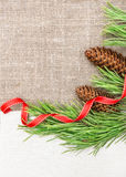 Christmas card with canvas, fir branch and pine cones on burlap Royalty Free Stock Photos