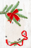 Christmas card with canvas, stars and fir branches Royalty Free Stock Photo