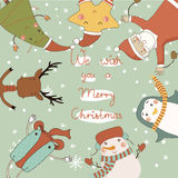Christmas card with cartoon characters. Royalty Free Stock Image