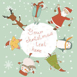 Christmas card with cartoon characters. Royalty Free Stock Images