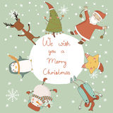 Christmas card with cartoon characters. Merry Christmas and Happy New Year Stock Images