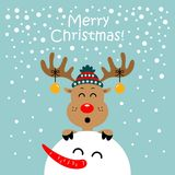 Christmas card with cartoon deer. Vector illustration. On a blue background stock illustration
