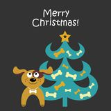 Christmas card with cartoon dog and a Christmas tree. Vector illustration. On a dark background stock illustration