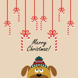 Christmas card with a cartoon dog. Vector illustration. Christmas card with a cartoon dog. The new year 2018. Vector illustration stock illustration