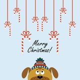 Christmas card with a cartoon dog. Vector illustration. Christmas card with a cartoon dog. The new year 2018. Vector illustration vector illustration