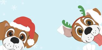 Christmas card with cartoon dogs with reindeer horns and Santa hat. Stock Photos