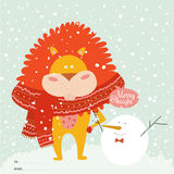 Christmas card with cartoon and funny animals Royalty Free Stock Photos