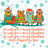 Christmas card with cartoon owl Royalty Free Stock Image