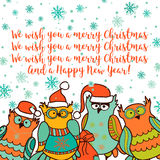 Christmas card with cartoon owl Stock Images