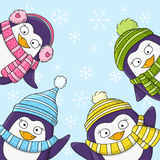 Christmas card with cartoon penguins Royalty Free Stock Photo