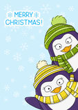 Christmas card with cartoon penguins Royalty Free Stock Photography