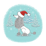 Christmas card with cartoon poodle dog in Santa hat. Vector holiday poster royalty free illustration