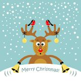 A cartoon reindeer. Vector illustration. Christmas card. A cartoon reindeer. Vector illustration royalty free illustration