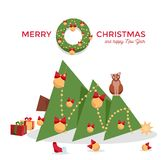 Christmas card - cat dropped the Christmas tree and sits on it on a white background. Greeting inscription decorated with fir stock illustration
