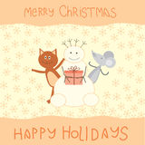 Christmas card with a cat, mouse and snowman.  Royalty Free Stock Images