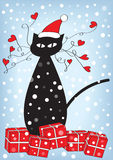 Christmas card with cat and presents Stock Photo