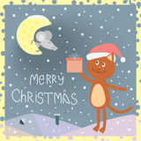 Christmas card with a cat on the roof and a mouse on the moon.  Stock Photography