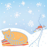 Christmas card with cat, snow Stock Photo