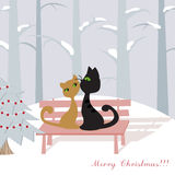 Christmas card with cats Royalty Free Stock Photography
