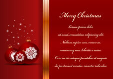 Christmas card. Celebration background with ball and place for your text Royalty Free Stock Photo