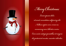 Christmas card. Celebration background with snowman and place for your text Royalty Free Stock Photo