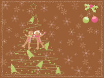 Christmas card with a chalk scribbled tree Royalty Free Stock Images