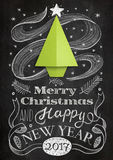 Christmas card with chalkboard and origami tree Royalty Free Stock Images