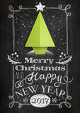 Christmas card with chalkboard and origami tree Royalty Free Stock Photography