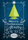 Christmas card with chalkboard and origami tree Stock Image