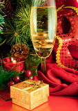 Christmas card. Champagne, branch of a fur-tree, Royalty Free Stock Image
