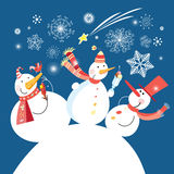 Christmas card with a cheerful snowman Royalty Free Stock Image