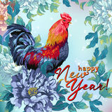 Christmas card with Chicken and flowers. Stock Image