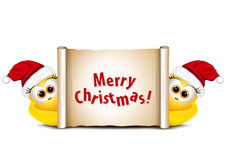 Christmas card with chickens in Santa hat. Rooster symbol New Ye. Ar 2017 Stock Photography