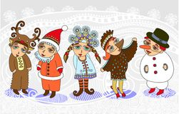 Christmas card with a Child Stock Images
