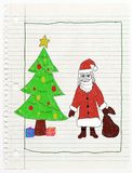 Christmas card - child drawing Stock Photos