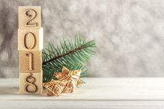 Christmas card. Children`s blocks. Creative idea. The new year 2018. Place for text Royalty Free Stock Image