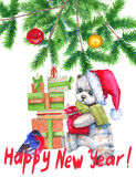 Christmas card. Children's soft toy. Watercolor illustration. Royalty Free Stock Image