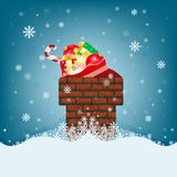 Christmas card with chimney and big bags of gifts Stock Image