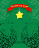Christmas card.2015 Chinese New Year of the Goat. Christmas card with a cheerful goat made tracery lines.2015 Chinese New Year of the Goat. , vector illustration vector illustration