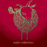 Christmas card.2015 Chinese New Year of the Goat. Christmas card with a cheerful goat made tracery lines.2015 Chinese New Year of the Goat. , vector illustration Royalty Free Illustration