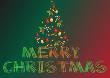 Christmas card and chrisrmas tree Stock Images