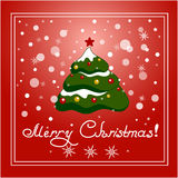 Christmas card.Christmas background with Christmas tree. Stock Images
