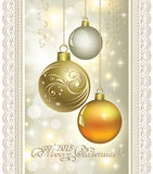 Christmas card with Christmas balls 2015. Christmas card with 2015 and Christmas baubles on shining background Royalty Free Stock Photography