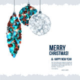 Christmas card with christmas balls composed of Royalty Free Stock Images