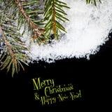 Christmas card with Christmas balls on a dark background Stock Photos