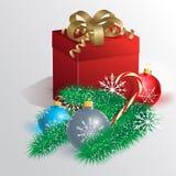 Christmas card with Christmas balls, gift and Christmas tree. Royalty Free Stock Photography