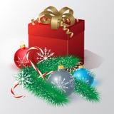 Christmas card with Christmas balls, gift and Christmas tree. Vector illustration  of  Christmas card with Christmas balls, gift and Christmas tree Royalty Free Stock Images