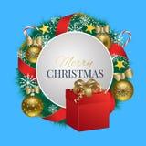 Christmas card with Christmas balls, gift and Christmas tree. Royalty Free Stock Photos
